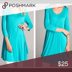 Ocean Blue Tunic/Dress Scoop neck, 3/4 sleeve jersey tunic dress.  Depending on your height you could wear as a dress or wear with leggings for additional comfort.  95% Rayon and 5% Spandex.  Measurements furnished upon request. Fashionomics Tops Tunics