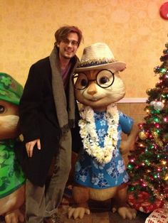 With Simon (whom he voices) from Alvin and the Chipmunks