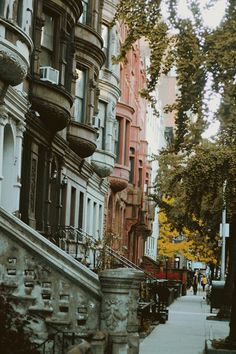 """Upper West Side, Manhattan, New York City"" I want to just walk in an area like this. There are some beautiful streets like this and I just want to take a walk and see them. More"