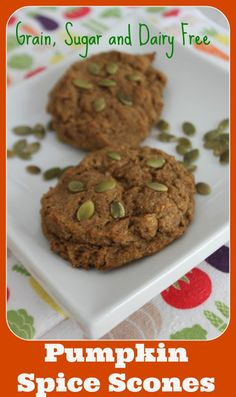 Pumpkin Spice Scones - pumpkin, almond flour, coconut flour, flax, eggs, grain-free, sugar-free, dairy-free. A great low carb fall snack that gives you that little hint of pumpkin pie without all the guilt. Also completely Paleo, Candida diet friendly and portable. Enjoy!