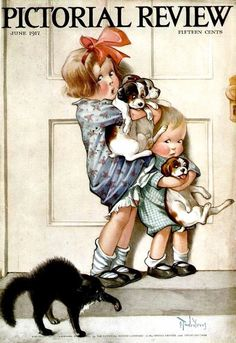 Items similar to Children Puppies Frightened of Black CAT NEW GICLEE Charles Twelvetrees Print Children's Room Art Image Dogs Boy & Girl from printchateau on Etsy Posters Vintage, Retro Poster, Vintage Postcards, Vintage Prints, Vintage Cards, Vintage Dog, Vintage Children, Vintage Images, Journal Vintage