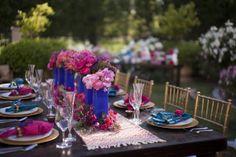Cobalt blue & pink wedding