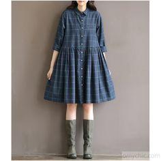 Flowy cotton dresses-Vintage plaid blue cotton dress nutural cotton fit flare dress casual shirt half sleeve