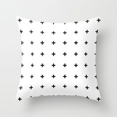 Black Cross on White // Black Plus on White Throw Pillow ♥