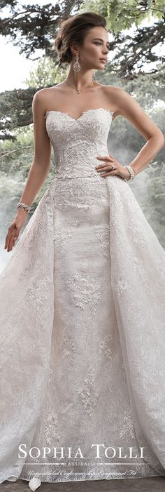 Sophia Tolli Fall 2017 Wedding Gown Collection - Style No. Y21764 Gemini - Two-piece organza and lace strapless wedding dress with detachable full A-line overskirt