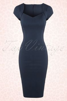 Collectif Clothing Regina Bengaline Pencil Dress in Navy 100 31 16108 20151016 Cute Dresses, Vintage Dresses, Casual Dresses, Vintage Outfits, Short Dresses, Dresses For Work, Formal Dresses, Pencil Dress Outfit, Dress Outfits