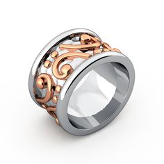 Silver and gold ring design Bass clef.  For my sister a great cello player! James Clarke Inc