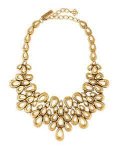 Y2MG0 Oscar de la Renta Gold-Plated Teardrop Bib Necklace