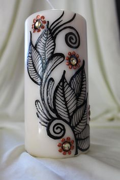 Holiday special Handpainted henna candles with  by ArtbyMeena