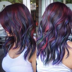 20 ways to wear violet hair hair goals blue hair highlights, Violet Hair Colors, Hair Color Purple, Cool Hair Color, Burgundy Colour, Reddish Purple Hair, Dark Violet Hair, Oil Slick Hair Color, Purple Hair Streaks, Peekaboo Hair Colors