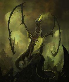 Skithiryx The Blight Dragon (MTG Fanart), Kristian Nüsser Fantasy Dragon, Fantasy Rpg, Dark Fantasy Art, Fantasy Artwork, Fantasy Creatures, Mythical Creatures, Strange Beasts, Legendary Dragons, Mtg Art