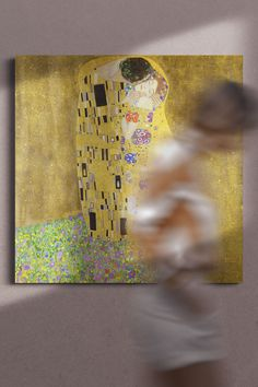 """""""The Kiss"""" is one of the most famous Gustav Klimt's artworks. The canvas belongs to the """"golden"""" period of Klimt's oeuvre. Using gold color is one of the reasons for the popularity of the paintings of this time.  Canvas art print with the ancient masterwork will be a wonderful asset for your living room or bedroom. Klimt, Canvas Art Prints, Abstract Words, Canvas, Painting, Gustav Klimt, Art, Canvas Art, Abstract"""