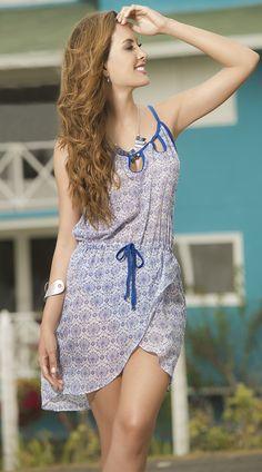 Blue and White Print Sundress http://divashq.com/blue-and-white-print-sundress #sundresses #dresses #summerdresses #fashion