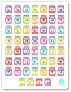 REVERSE Rainbow 52 Week Savings Challenge Planner by PlannerPenny