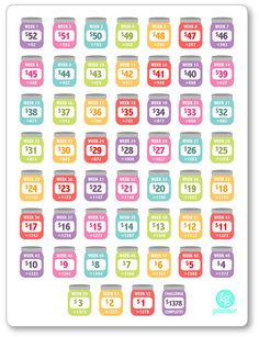 One 6 x 8 sheet of REVERSE 52 (+ a bonus Challenge Complete) week savings challenge planner stickers cut and ready for use in your Erin Condren life