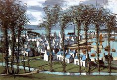 Bernard Buffet - Audierne, vue sur le port - 1973, oil on canvas - 89 x 130 cm