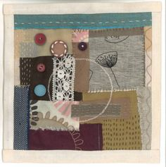 Abstract hand stitched textile art quilt with vintage buttons £60.00