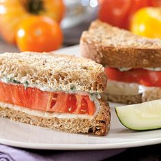 There's something magical about a simple bread-and-tomato sandwich, but this one is even better topped with melted provolone cheese and tarragon-garlic mayo.