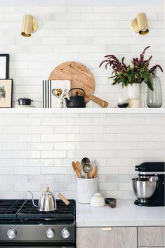 White Texture Subway Brick Kitchen /