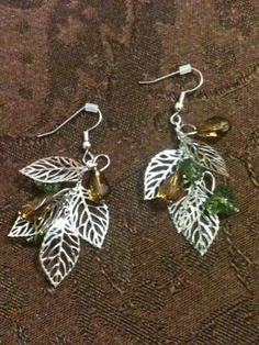 Filigree Leaf & Beads Earrings