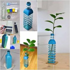que bella transformacion. botella comun a florero personalizado