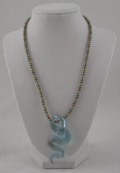 Gold and Blue Glass Blown Snake Charm Necklace by SummerCAmber, $12.00