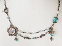 Steampunk Necklace silver watch movement gold flower leaf dragonfly pearl blue opal crystal aquamarine jewelry  #SteampunkNecklace #SteampunkJewelry #SteampunkJewelrybyMariaSparks