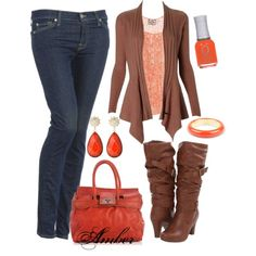 """""""Orange & Brown"""" by stay-at-home-mom on Polyvore"""