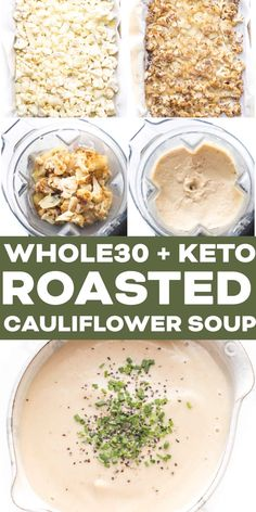 Keto Roasted Cauliflower Soup Recipe + Video - 7g net carbs! A low carb, healthy and nourishing roasted cauliflower soup. Paleo, Whole30, gluten free, grain free, dairy free, sugar free, vegan, plant based, clean eating, real food. #keto #lowcarb #whole30 #soup