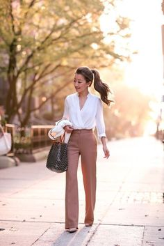 chic teacher outfit high waisted pants