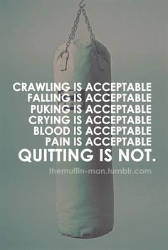 Quitting is not acceptable!  9Round in Northville, MI is a 30 minute full body workout with no class times and a trainer with you every step of the way!  The workouts change daily so there is no chance of boredom, and we can keep the workout fun and stimulating!  Visit www.9round.com/fitness/Northville-Michigan or call (734) 420-4909 if you want to learn more!