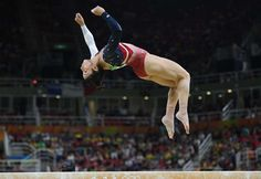 Aly Raisman (USA) competes during the women's team finals in the Rio 2016 Summer Olympic Games at Rio Olympic Arena.