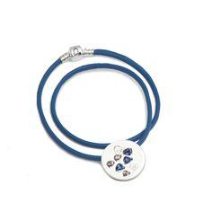The Paris Silver Charm Leather Necklace Blue Romance