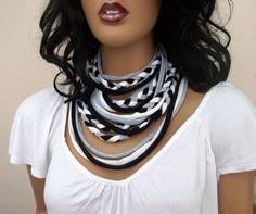 Black white gray Tshirt Necklace by zuustextile on Etsy