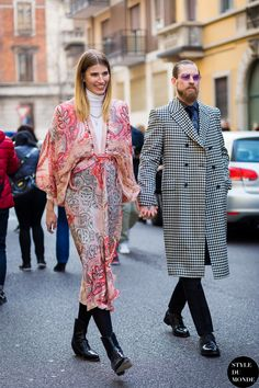 Veronika Heilbrunner and Justin O'Shea Street Style Street Fashion Streetsnaps by STYLEDUMONDE Street Style Fashion Photography