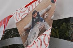 "Tons of cute baseball party ideas!! I like the idea of writing ""Watson's Field"" on penants."