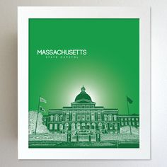 Massachusetts Skyline State Capitol Landmark - Modern Gift Decor Art Poster 8x10. $20.00, via Etsy.