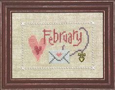 February A Year With Charm : Lizzie Kate counted cross stitch pattern Valentine's Day sweetheart embroidery