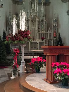 Christmas 2016 Cathedral of St. Church Christmas Decorations, Altar Decorations, Centerpieces, Wedding Decorations, Holiday Decor, Church Flower Arrangements, Church Flowers, Floral Arrangements, Church Design
