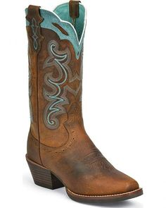 Justin Silver Blue Embroidered Cowgirl Boots - Square Toe