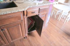 """We have always wanted a pull out trash can and recycle bin. We decided to make our own since none of the """"kits"""" fit the cabinet size we wanted to use it on. Pull Out Kitchen Cabinet, Trash Can Cabinet, Glass Kitchen Cabinet Doors, Cabinet Space, Inexpensive Rugs, Diy Kitchen Island, Kitchen Ideas, Stock Cabinets, Diy Trellis"""