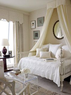 Wall fabric and curtains, Mark Alexander by Romo's Jahangir. Bed by Jim Howard. Bedding by Wamsutta.