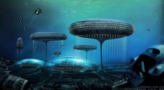 Alien City, by J. Carson - Gorgeous Art Shows What Life Would Be Like in Cities Beneath the Sea Futuristic City, Futuristic Architecture, Organic Architecture, Beneath The Sea, Under The Sea, Fantasy City, Fantasy World, Future City, Ufo