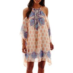 Not my usual style, but it's cute. $50 Bisou Bisou® Scarf Print Chain Neck Cold Shoulder Dress - JCPenney