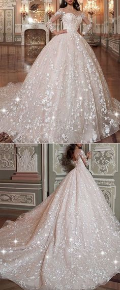 NEW! Attractive Tulle & Organza Scoop Neckline Ball Gown Wedding Dress With Lace Appliques & Beadings