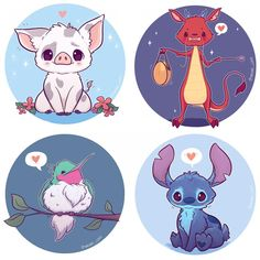 Chibi Disney Animal Siderkick Stickers/ and or print - anime - Animals Kawaii Disney, Anime Disney, Chibi Disney, Art Kawaii, Chibi Kawaii, Art Disney, Cute Kawaii Drawings, Cute Animal Drawings, Anime Kawaii