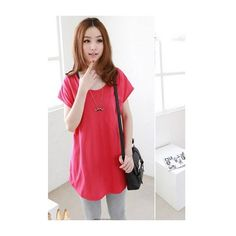 Blue Cotton Korean Style Women Round Neck Short Sleeve Pocket T-Shirt... ($7.16) via Polyvore