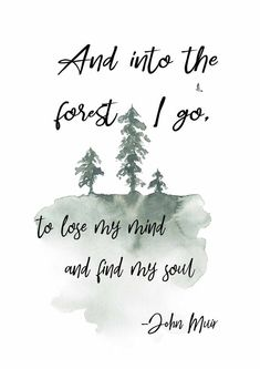And into the forest I go, to lose my mind and find my soul. John Muir printable art quote, available