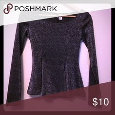 Sparkle peplum top Sparkly and fun peplum top, worn once last New Years Eve. Divided Tops Tees - Long Sleeve
