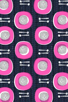 African Drums by ottoman brim. Neon pink circles on a navy and black background on fabric, wallpaper and gift wrap. Block print style design with bright geometric shapes.